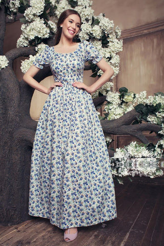 White and Blue Color Maslin Cotton Women's Stitched Gown - DN1117