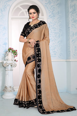 Beige Color Silk Saree - DNO-1457