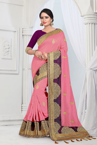 Baby Pink Color Vicitra Silk Saree - DNO-1462