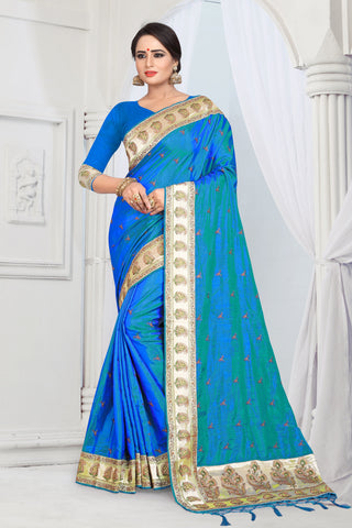 Blue Color Sana Silk Saree - DNO-1475