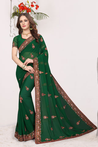 Bottle Green Color Georgette Saree - DNO-1681