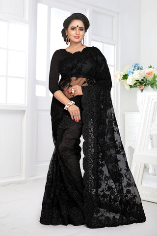 Black Color Net Saree - DNO-351