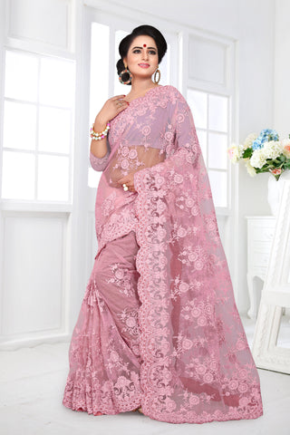 Baby Pink Color Net Saree - DNO-358