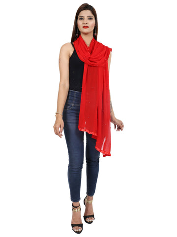Red Colour Chiffon Dupatta- Dup0659