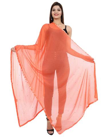 Peach Colour Chiffon Dupatta- Dup0660