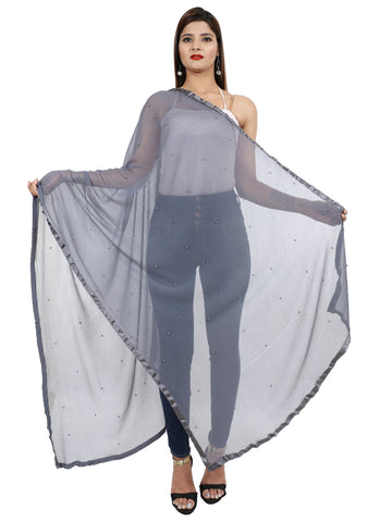 Grey  Colour Chiffon Dupatta- Dup0665