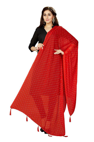 Red Colour Chiffon  Dupatta- DUP0688