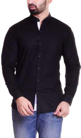 Black Color Cotton  Men's Solid Shirt - DVS-ST202