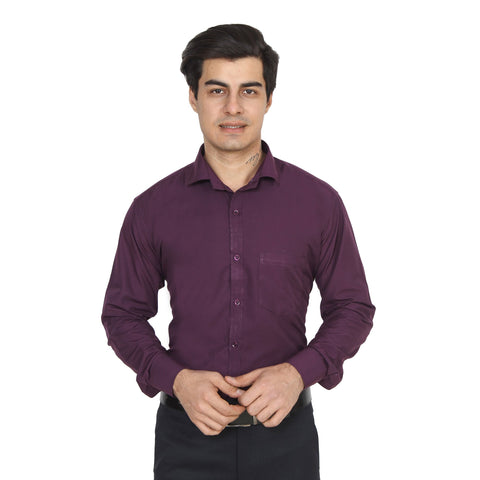 Dark Purple Color Cotton Blend Slim Fit Shirts - DarkPurple-shirtsNew
