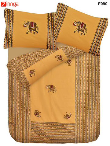 FEMEZONE-Beautiful Dark Yellow Color Cotton  Double Bed sheet with Traditional Elephant Patch Work - F090