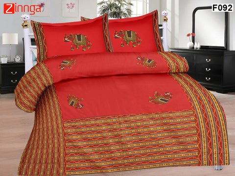 FEMEZONE-Beautiful Red Colour Cotton  Double Bed Sheet with Traditional Elephant Patch Work - F092
