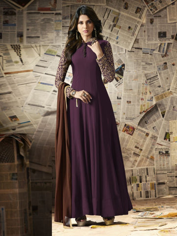 Wine Color Georgette Un Stitched Salwar - F1089