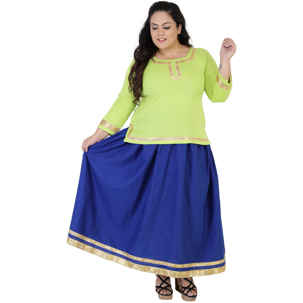 Buy Green Color Rayon Women's Skirt with Top