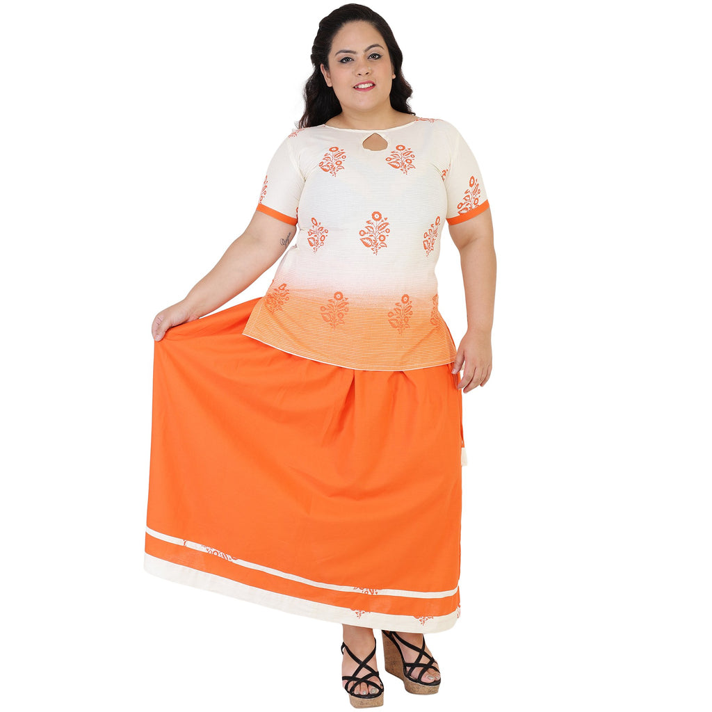 Buy White Color Cotton Women's Skirt with Top