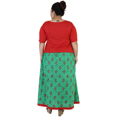 Red Color Rayon Women's Skirt with Top - FBWC__14