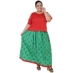Buy Red Color Rayon Women's Skirt with Top