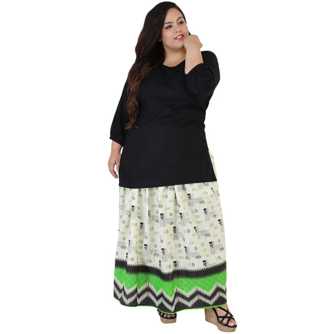 Black Color Rayon Women's Skirt with Top - FBWC__15