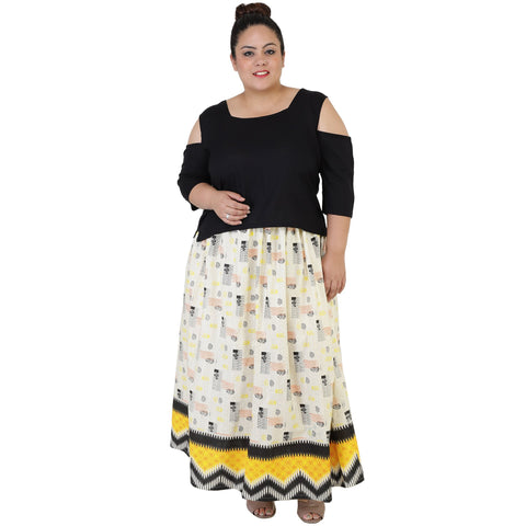Black Color Rayon Women's Skirt with Top - FBWC__18