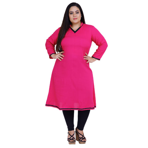 Pink Color Rayon Women's Stitched Kurti - FBW_23