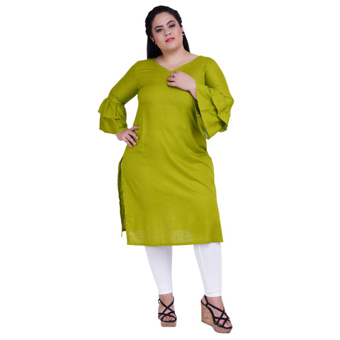 Green Color Rayon Women's Stitched Kurti - FBW_30