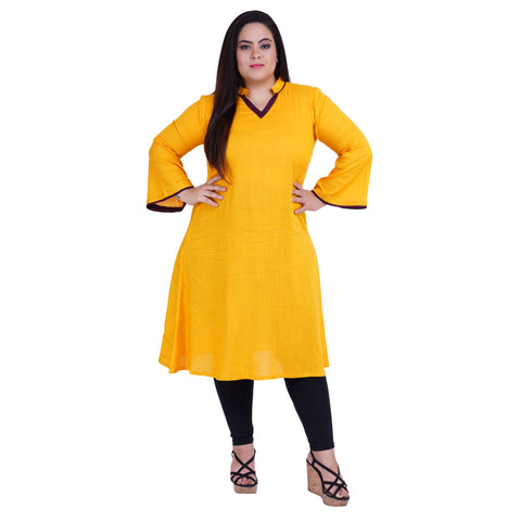 Yellow Color Rayon Women's Stitched Kurti - FBW_36
