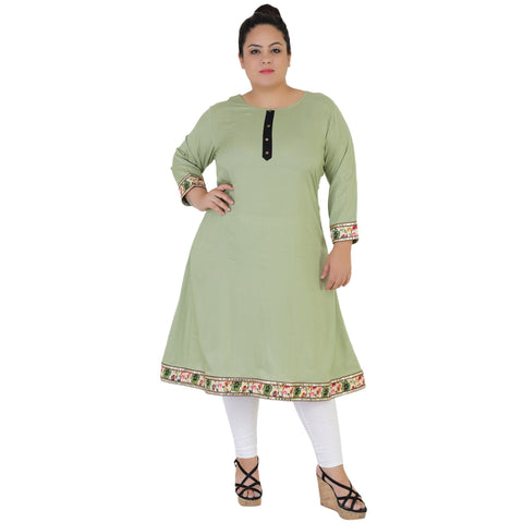 Sea Green Color Rayon Women's Stitched Kurti - FBW_52