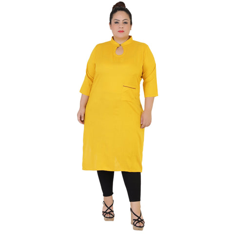 Yellow Color Rayon Women's Stitched Kurti - FBW_58