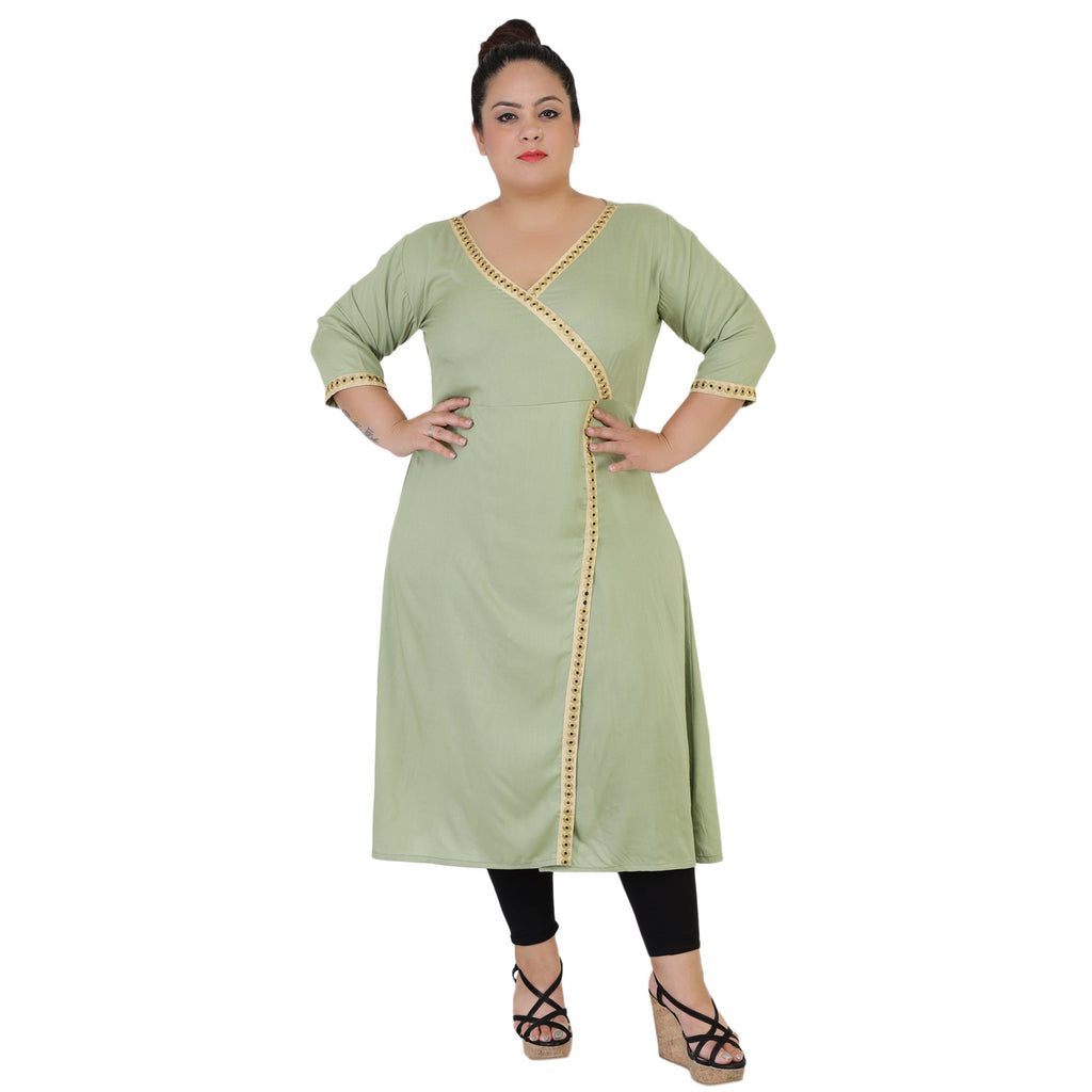 Buy Sea Green Color Rayon Women's Stitched Kurti