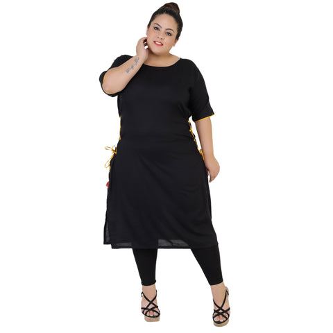 Black Color Rayon Women's Stitched Kurti - FBW_62