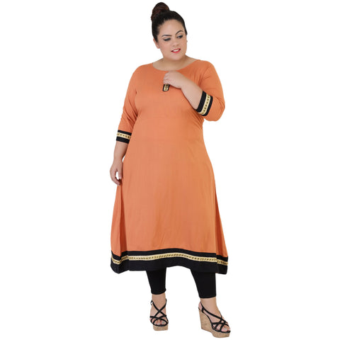 Orange Color Rayon Women's Stitched Kurti - FBW_64