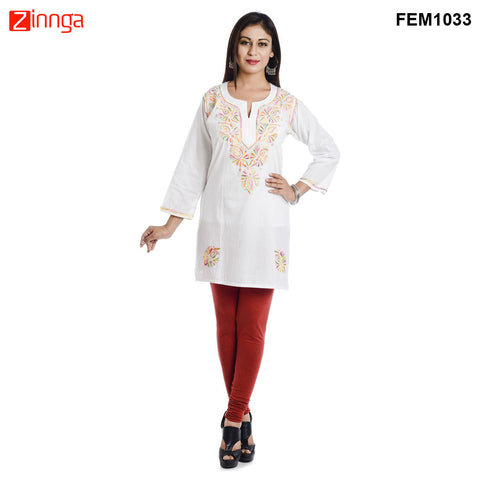 FEMEZONE-Women's Beautiful Stitched Cotton Kurti - FEM1033