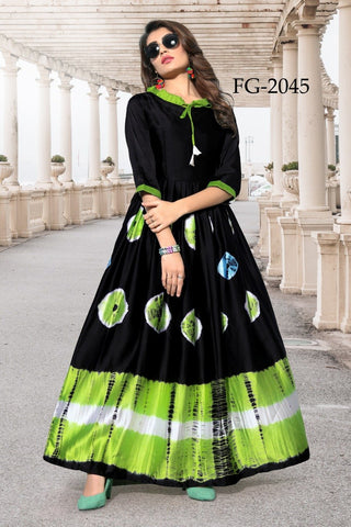 Black and Green Color Taiwan Satin Women's Stitiched Kurti - FG2045
