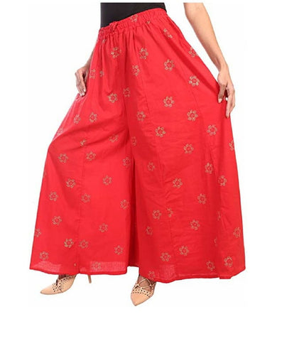 Red Color Rayon Women's Palazzo - FPL0021