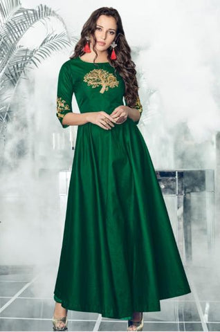 Dark Green Color Heavy Rayon 14 KG Stitched Kurti - Forever-11005