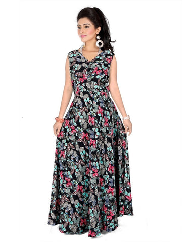 Black Color Georgette Stitched Gown  - GOWN00242