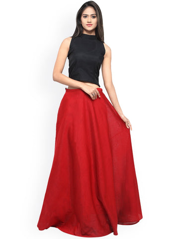 Black And Red Color Banglori Semi Stitched Gown - GOWN00260
