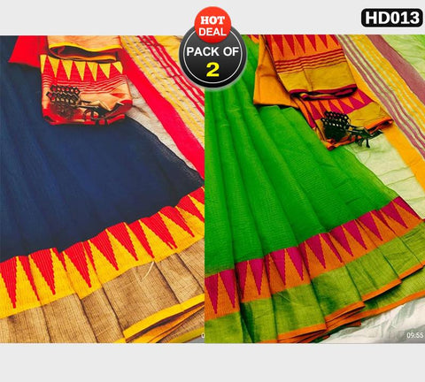 Pack of 2 - Blue and Green Color Kota Doriya Women Sarees - BLUE-LAXMINARAYAN, GREEN-LAXMINARAYAN