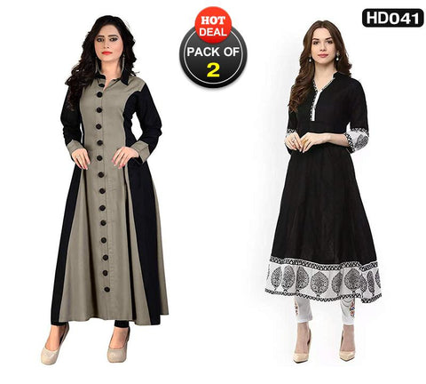 Pack of 2 - Gray and Black Color Rayon Women's Stitched Gown and Kurti-SA-Gown, SA-Black-Anarkali