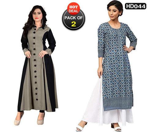 Pack of 2 - Gray and Blue Color Rayon Women's Stitched Gown and Kurti-SA-Gown, SA-Indigo-kurti