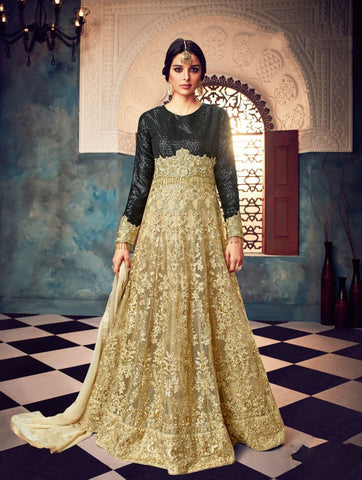 Black And Beige Color Butterfly Net UnStitched Anarkali Gown - HL-7025A