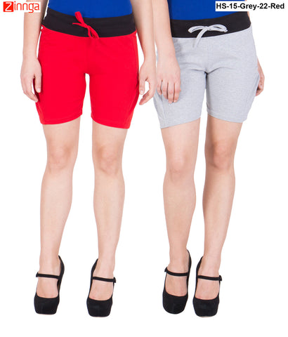 AMERICAN ELM-Women's Beautiful Cotton Stitched Shorts - HS-15-Grey-22-Red