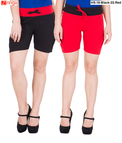 AMERICAN ELM-Women's Beautiful Cotton Stitched Shorts - HS-16-Black-22-Red