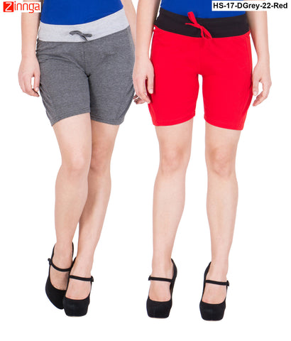 AMERICAN ELM-Women's Beautiful Cotton Stitched Shorts - HS-17-DGrey-22-Red