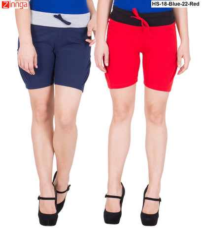 AMERICAN ELM-Women's Beautiful Cotton Stitched Shorts - HS-18-Blue-22-Red