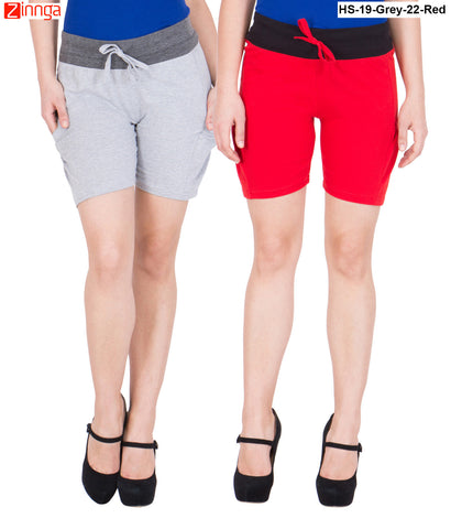 AMERICAN ELM-Women's Beautiful Cotton Stitched Shorts - HS-19-Grey-22-Red