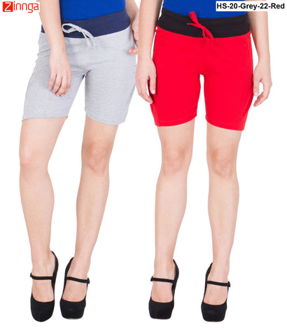 AMERICAN ELM-Women's Beautiful Cotton Stitched Shorts - HS-20-Grey-22-Red