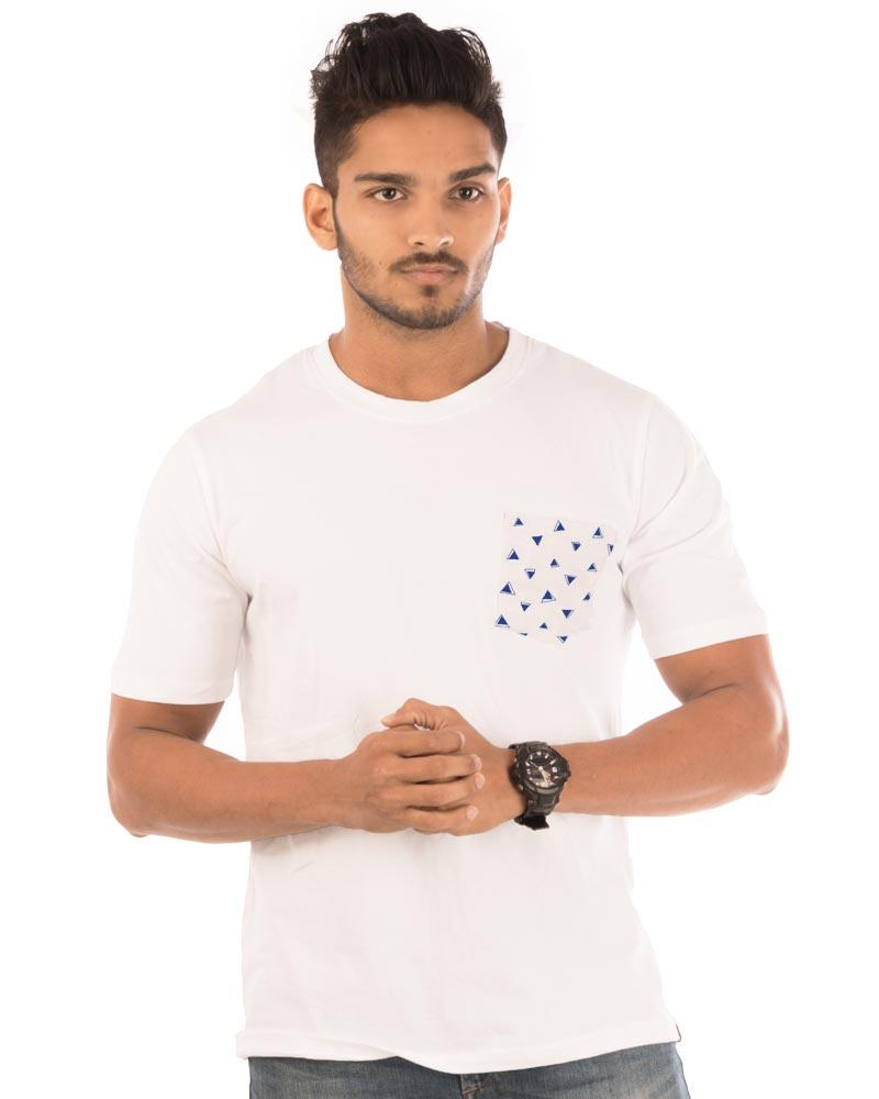 White Color Cotton Mens T-Shirt