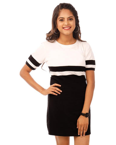 JetBlack and White Color Cotton Womens Dress - HTTS1086
