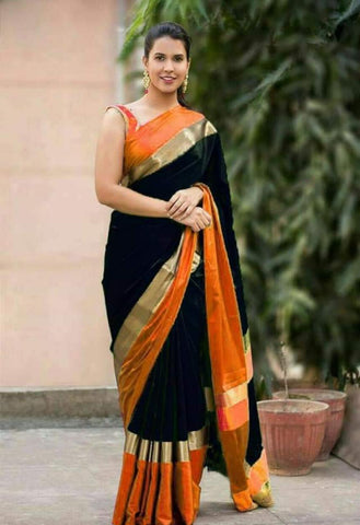 Black and Orange Color Soft Cotton Linen Saree - IGNA-11