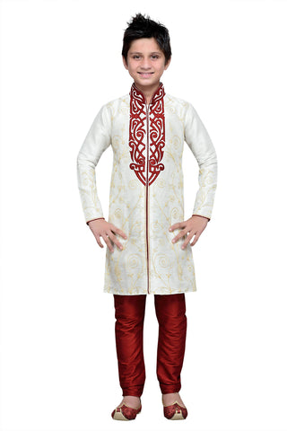 Cream Color Art Silk Kurta Pyjama - IP120